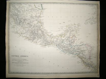 Central America, Belize, Guatemala, Honduras, Mexico, etc 1842 Map. SDUK | Albion Prints